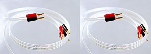 QED Reference XT25 Lautsprecherkabel (Paar, Zwei Kabelabschlüsse, vergoldet, 4 mm Bananenstecker an Allen Enden, 8 Stecker) insgesamt 3 Metre