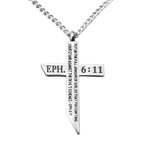 epiphaneia Men's Stainless Steel Cross Necklace Armour of God Ephesians 6:11. Mens Jewellery Cross Necklaces Christian Religious Gifts Christians for Men - Dad Birthday Gift, Father's Day, Christmas