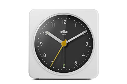 Braun Classic Analogue Alarm Clock with Snooze and Light, Quiet Quartz Sweeping Movement, Crescendo Beep Alarm in White and Black, Model BC03WB.