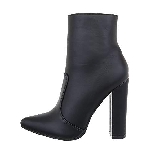 Ital-Design Damenschuhe Stiefeletten High Heel Stiefeletten Synthetik Schwarz Gr. 36