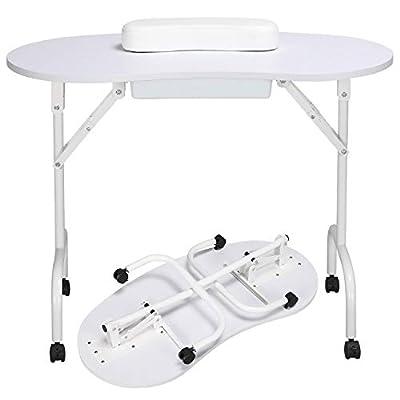 Yaheetech 37''L Portable & Foldable Manicure Table