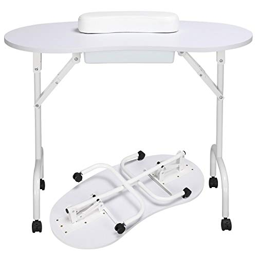 Yaheetech 37-inch Portable & Foldable Manicure Table Nail Technician Desk Workstation with Client Wrist Pad/Lockable Wheel/Carrying Case, White