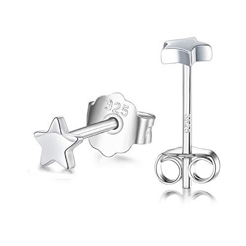 CERSLIMO Pendientes de plata con diseño de estrella para niñas, niños y mujeres, no plateados, 3 mm/4 mm/5 mm