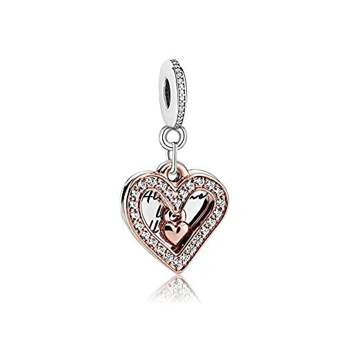 LILANG Pandora 925 Pulsera de joyería NaturalOriginal aleación Rosa Brillante Mano corazón Colgante Claro BrazaleteEncanto Mujeres DIY Regalos