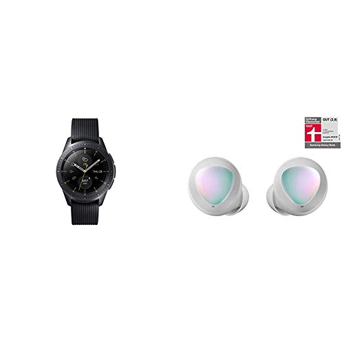 Samsung Galaxy Watch 42 mm (Bluetooth), Schwarz + Samsung Galaxy Buds SM-R170 I Kabellose Kopfhörer Silber I Bluetooth I In-Ear I Stereo-Sport Headphones