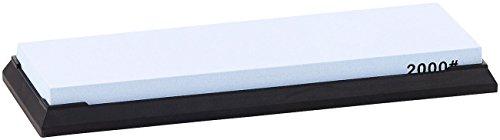 TokioKitchenWare Abziehstein: Wasser-Schleifstein für Messer, mit rutschfestem Halter, Körnung 2000 (Schärfstein)