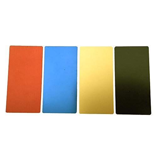 ebamaz - Hojas de Grabado de Placa de Aluminio anodizado, 100 x 50 x 0,5 mm, Esquinas Redondeadas con Adhesivo para Grabado láser, Blank, Red/Golden/Blue/Black Each 1pcs, 100X50X0.5MM