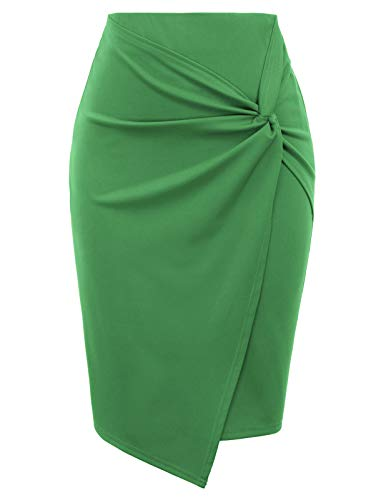 Kate Kasin Wear to Work Pencil Skirts for Women High Waist Stretchy Knee Length Pencil Skirt (Green, Small)