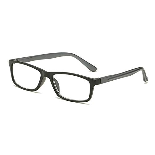 Hombre Lady HD Gafas de Lectura de Marco Completo, Lentes de Resina antifatiga, Marco de Material de PC, Patilla de Resorte Cómodo de Usar Dioptrías de 1,00 a 3,00,Negro,+1.00