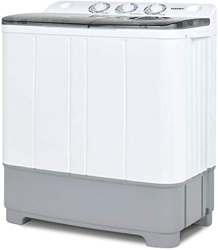KUPPET Washing Machine, 21Ibs Portable Mini Compact Twin Tub Washer Spin Dryer, Ideal for Dorms, Apartments, RVs, Camping etc, White & Grey
