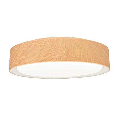 Plafonnier avec abat-jour en métal rond 47 cm aspect chêne marron clair 24 W module LED 3000 K blanc chaud intégré, lampe de chambre à coucher, IP20