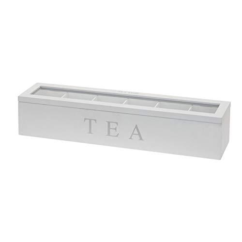 Teebox aus Holz mit 6 Fächern - Weiß