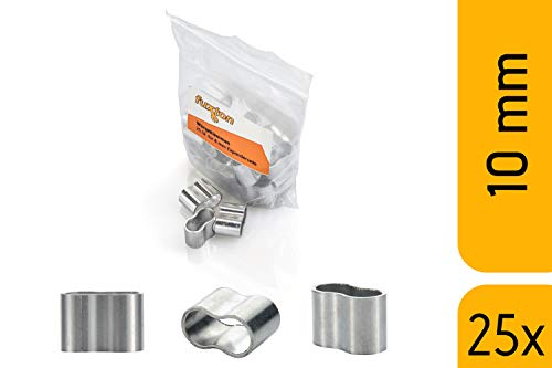 fuxton 25 Stk Profi Seilklemme 10 mm Würgeklemmen aus Aluminium, rostfrei, für Expanderseil, Planenseil, Gummiseil