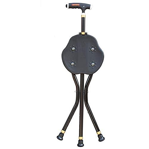 Bastón Silla de muleta de aleación de aluminio LED Taburete de muleta 5 archivos imán ajustable Superficie del taburete Soporte triangular para actividades en interiores y exteriores, A (Color: A) ⭐