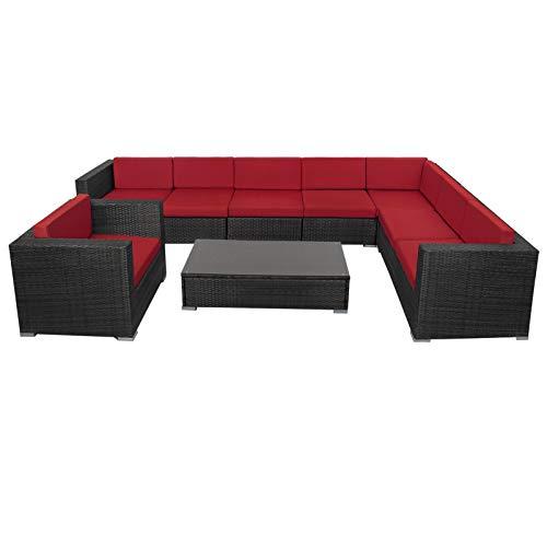 Montafox 24-teilige Polyrattan Lounge 8 Personen Gartenmöbel Ecklounge Ecksofa Beistelltisch Sessel Balkon Terrasse Gartengarnitur Schwarz, Farbe:Abendsonne