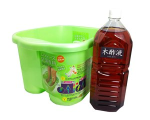 足湯セット 足湯バケツ2502(12L)・木酢液2L(国産・原液100%・3年熟成) もく酢 もくす もくさく 木酢