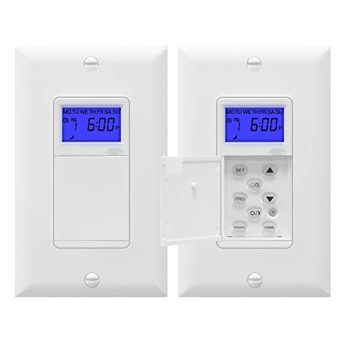 TOPGREENER Digital Astronomic Timer Switch, 7-Day in Wall Programmable Sunrise Sunset timer for Lights, Fans, and Motors, Single-Pole or 3-Way, Neutral Wire Required, UL Listed, TGT01-H, White, 2 Pack