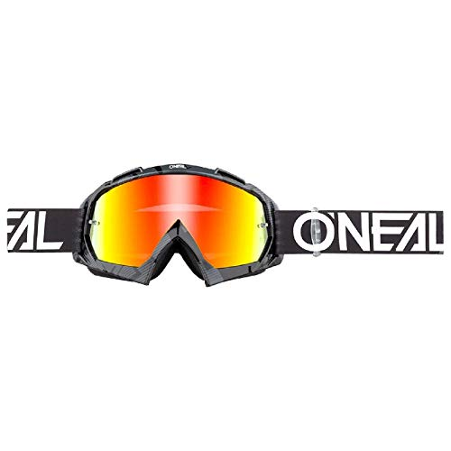 O'NEAL | Fahrrad-Brille Motocross-Brille | MX MTB DH FR Downhill Freeride | Hochwertige 1,2 mm-3D-Linse für ultimative Klarheit, UV-Schutz | B-10 Goggle | Erwachsene Unisex | Schwarz Weiß | One Size