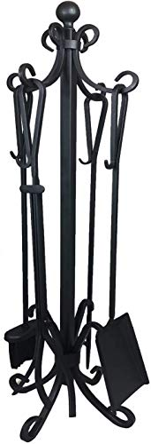 Fireplace Toolset– 5 Piece Fireplace Toolset – Strong Cast Iron Toolset – Accessories include Tong, Shovel, Base, Poker and Brush – Sturdy well balanced Stand to hold all Tools and Accessories