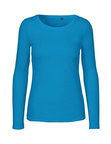 Green Cat- Damen Langarmshirt, 100% Bio-Baumwolle. Fairtrade, Oeko-Tex und Ecolabel Zertifiziert, Textilfarbe: Saphir, Gr. L