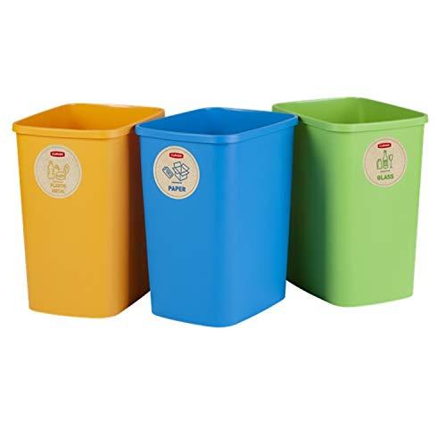 CURVER Eco Friendly - Juego de 3 cubos de basura para separación de basura, papel de cristal y plástico, cubo de reciclaje de plástico (3 x 10 L)