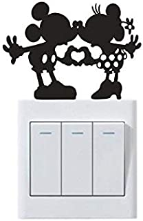 Yasrt Wall Sticker Quotes Wall Art Decal Baby Room Light Switch Sticker Minnie and Mickey Kissing Home Decorative Switch Stickers