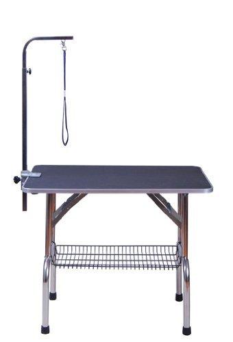 Pawhut Alu Trimmtisch Tierpflegetisch Schertisch mit Korb höhenverstellbar Schwarz
