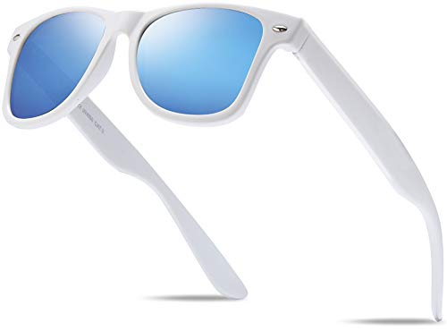 Hatstar Polycarbonat Vintage Sonnenbrille Retro Nerd Unisex Brille mit Federscharnier für Herren und Damen UV400 CAT 3 CE (Weiss (Gläser: Blau Verspiegelt))