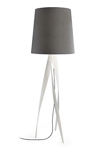 175 cm Design-Stehlampe Medusa Farbe (Schirm): Grau, Farbe (Ständer): Weiß matt