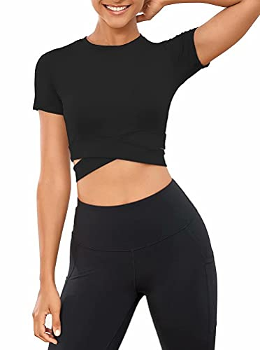 MISSJOY Top de Sport Court Femme, T-shirt de yoga à manches courtes Tummy Cross Training Top Shirt