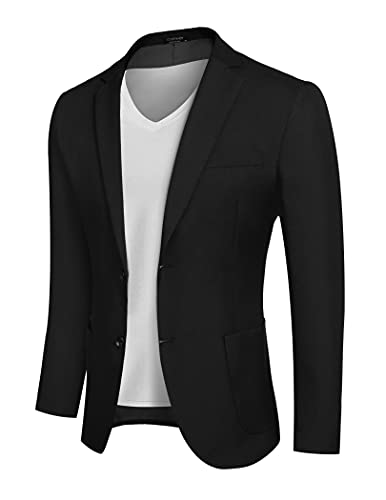 COOFANDY Men's Blazer Jacket Fashion Modern Western Big and Tall Dress Coat Black