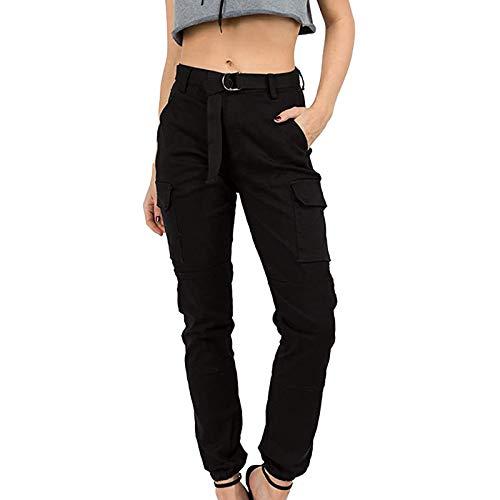 Piasnhaoah4 Pantalon Camouflage Femmes avec Ceinture, Cargo Pantalon Training Pantalon Décontracté Cargo Camo Pants Militaire Taille Elastique Sport Jogging Cargo Hip Hop Trousers