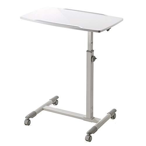 Mesa de escritorio para ordenador portátil, mesa ajustable y ruedas, multifunción, mesa de trabajo, sofá, mesita de noche (color: blanco)