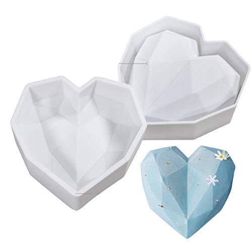 Molde De Pastel Con Forma De Corazón De Diamante, Molde De Silicona Con Forma De Corazón De Diamante,Geométrica Amor,Magdalenas Martillos Madera Herramientas Para Hornear,D