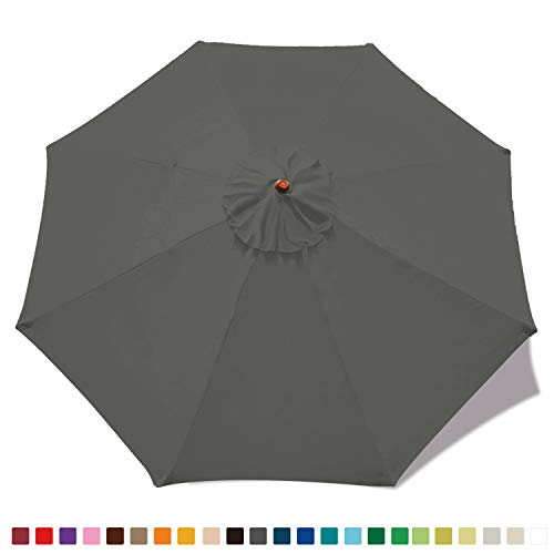 MASTERCANOPY 9ft Patio Umbrella Replacement Canopy Market Table Umbrella Canopy with 8 Ribs(Charcoal Grey)