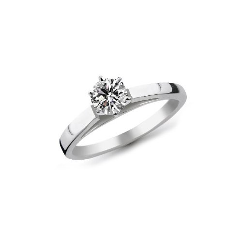 14K White Gold 1/3 Carat Round Cut Cathedral Solitaire Diamond Ring (G-H ; SI1-2)