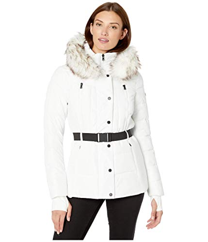 MICHAEL Michael Kors Active Jacket with Logo Belt and Hood A420380TZ White LG