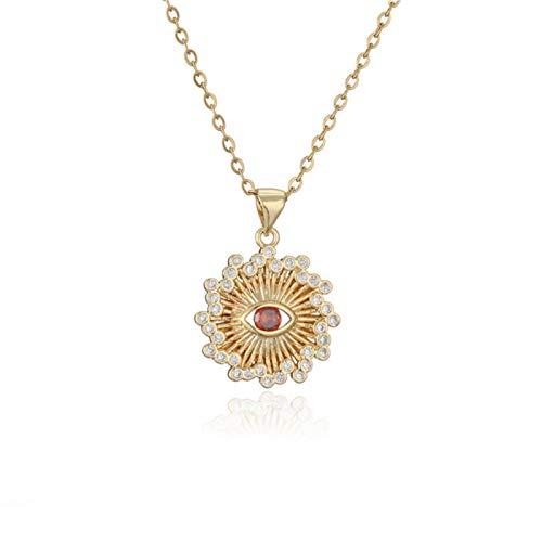 Collar con Colgante de Ojo geométrico para Mujer, niña, diseño único, Bonito Collar de Gargantilla, joyería de Boda con circonita cúbica para Mujer