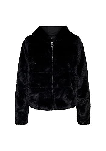 ONLY Damen Onlchris Fur Hooded Jacket OTW Noos Jacke, Schwarz (Black Black), Medium (Herstellergröße: M)