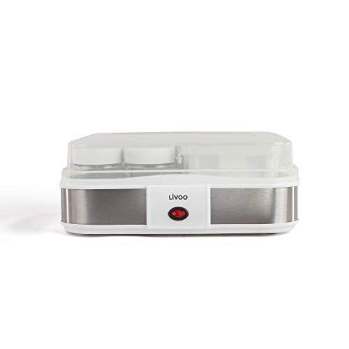 LIVOO DOP156 Yaourtière Faits Maison, Blanc | 210 ML X 12 Pots yaourts, 1,2L de Fromage Frais, 1.2 liters, Gris