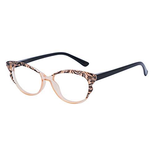 OCCI CHIARI Reading Glasses Women's Reader Cateye Eyeglasses 0 1.0 1.25 1.5 1.75 2.0 2.25 2.5 2.75 3.0 3.5 2.5 3.5(Brown+Black 300)
