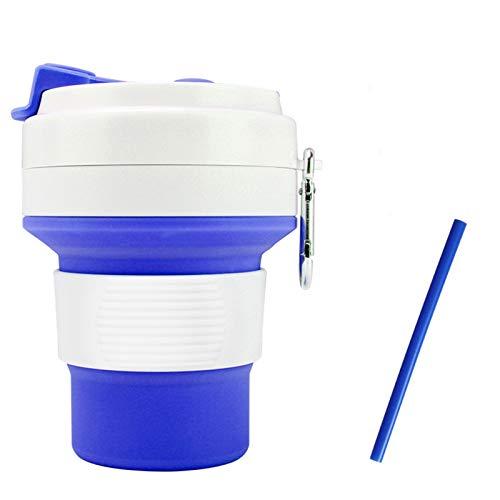 350ml Creativo Taza De Café Al Aire Libre Botella De Agua Deportes Viajes Portátil Silicona Telescópica Taza De Mano Plegable con Paja (Capacity : 350ml, Color : Blue)