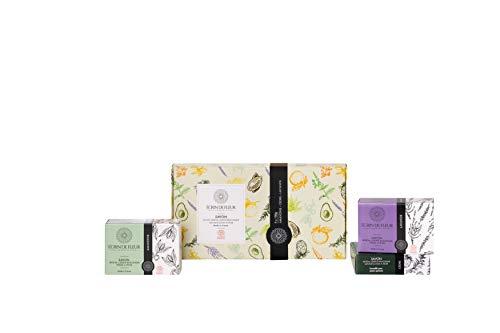 Écrin De Fleur - Handgemachte Seifen Geschenkset 3er-Pack (Mandel, Lavendel und Zeder) Gemischt für Entspannung wie in der Provence, praktisch und elegant, BIO-zertifiziert