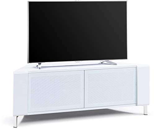 """MDA Designs CORVUS Corner-Friendly Gloss White Contemporary Cabinet with White Profiles White BeamThru Glass Doors Suitable for Flat Screen TVs upto 50"""""""