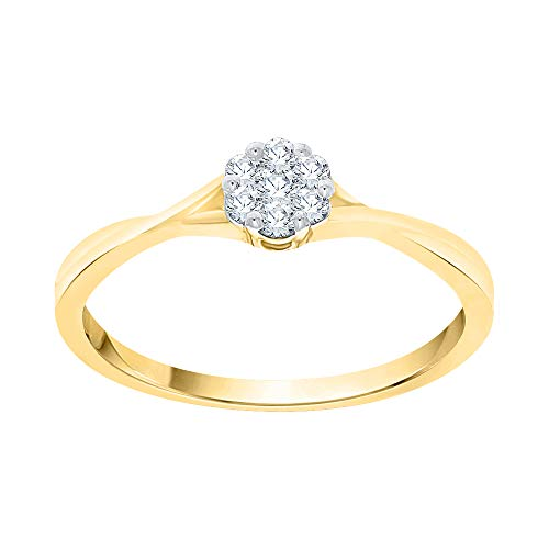 Katarina - Juego de anillos de compromiso de oro de 14 quilates (1/6 quilates, I-J, I1)