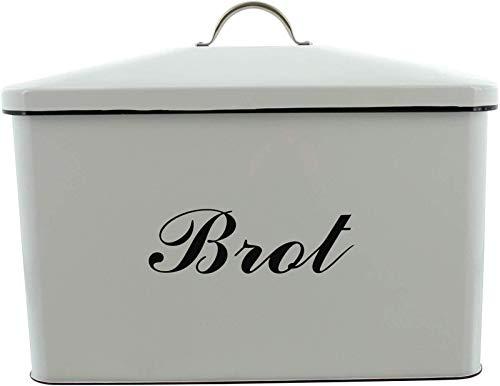 Dekoleidenschaft Vorratsdose Brot aus Metall, weiß emailliert, Brotkasten, Brottopf, Vintage