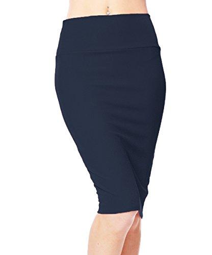 Urban CoCo Women's High Waist Stretch Bodycon Pencil Skirt (XL, Navy Blue)