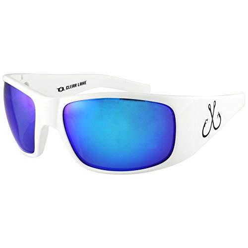 Filthy Anglers Shawsheen Polarized Fishing Sunglasses White Frame Sun Glass for Men Women Watersports Driving Golf Baseball Running Blue Mirror Lens