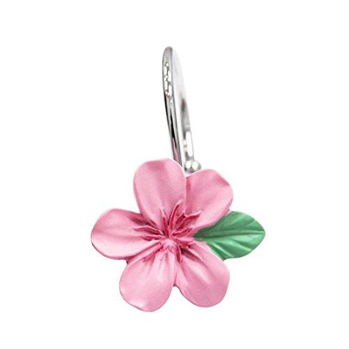 ZCX Kleiner Duschvorhang Pfirsichblüte Rosa Metall Material Pfirsich Typ Duschvorhang Haken Jeder Satz von 16 Duschvorhänge