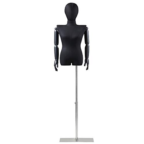YXX- Black Flat Shoulder Female Mannequin Body with Head & Arms, Adjustable Stand Manikin Dress Form for Clothes Display, T-Shirts & Swimwear (Color : Silver)